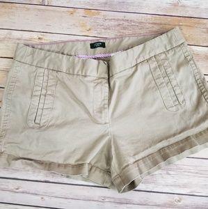 J Crew Khaki Stretch Chino Mini Shorts